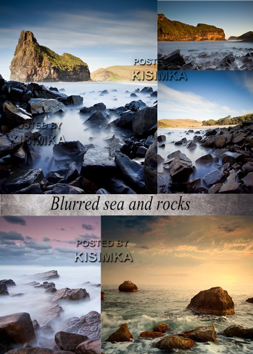 Stock Photo: Blurred sea and rocks