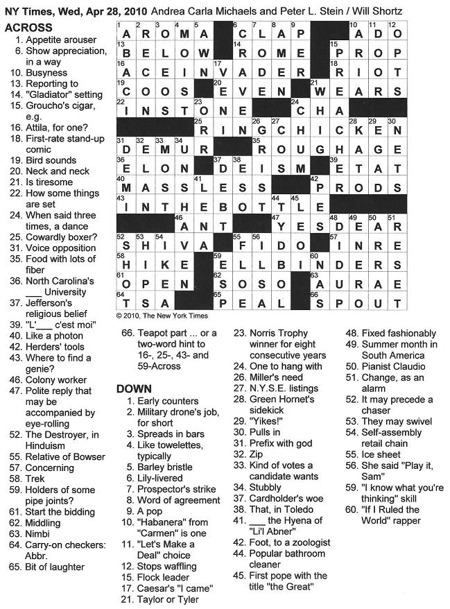 The new york times crossword in gothic april 2010 click on image to enlarge malvernweather Gallery
