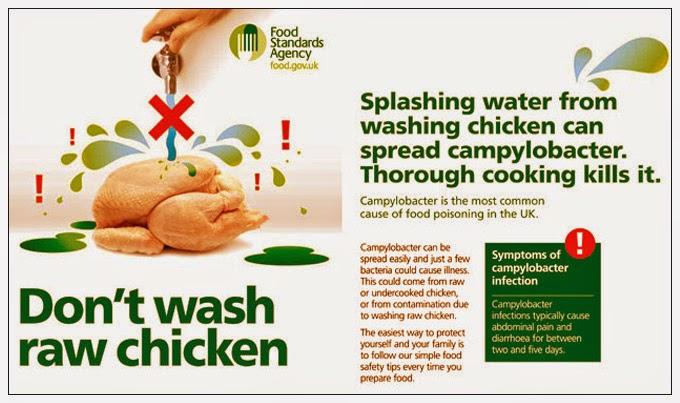 Lavar el pollo puede extender la bacteria Campylobacter según estudio británico