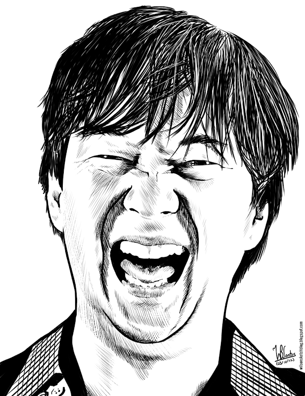 Ink drawing of Mr. Chow from