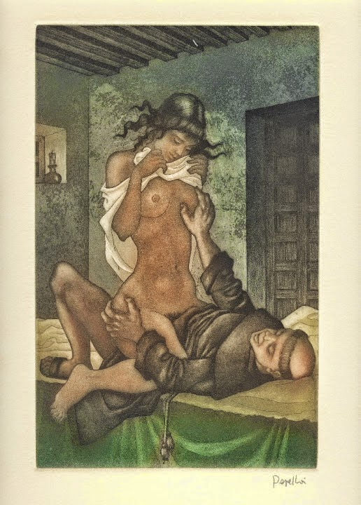 Monje en pecado - Grabado original de Celedonio Perellón