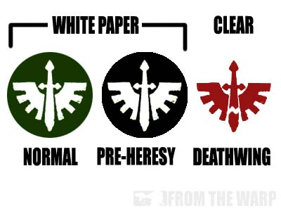 For example lets look at dark angles they have a white sword and wings to get this as a decal well need to print it out on white paper