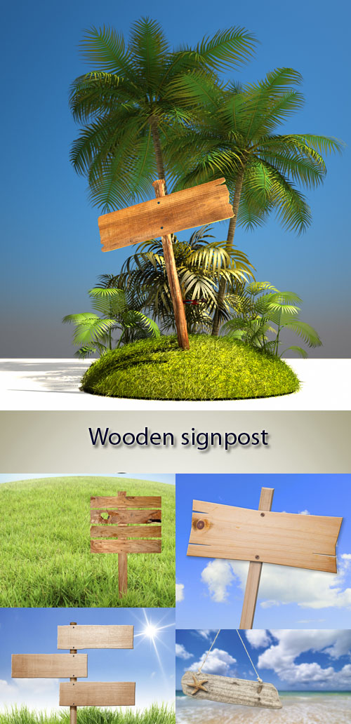Stock Photo: Wooden signpost