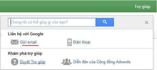 Liên hệ Google AdWords qua Email