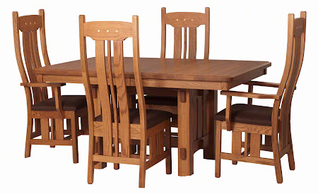 """60"""" x 42"""" Cordoba Table and Colonial Chairs in Cinnamon Oak, Natural Hard Maple Raised Inlays, Rounded Fabric Seat"""