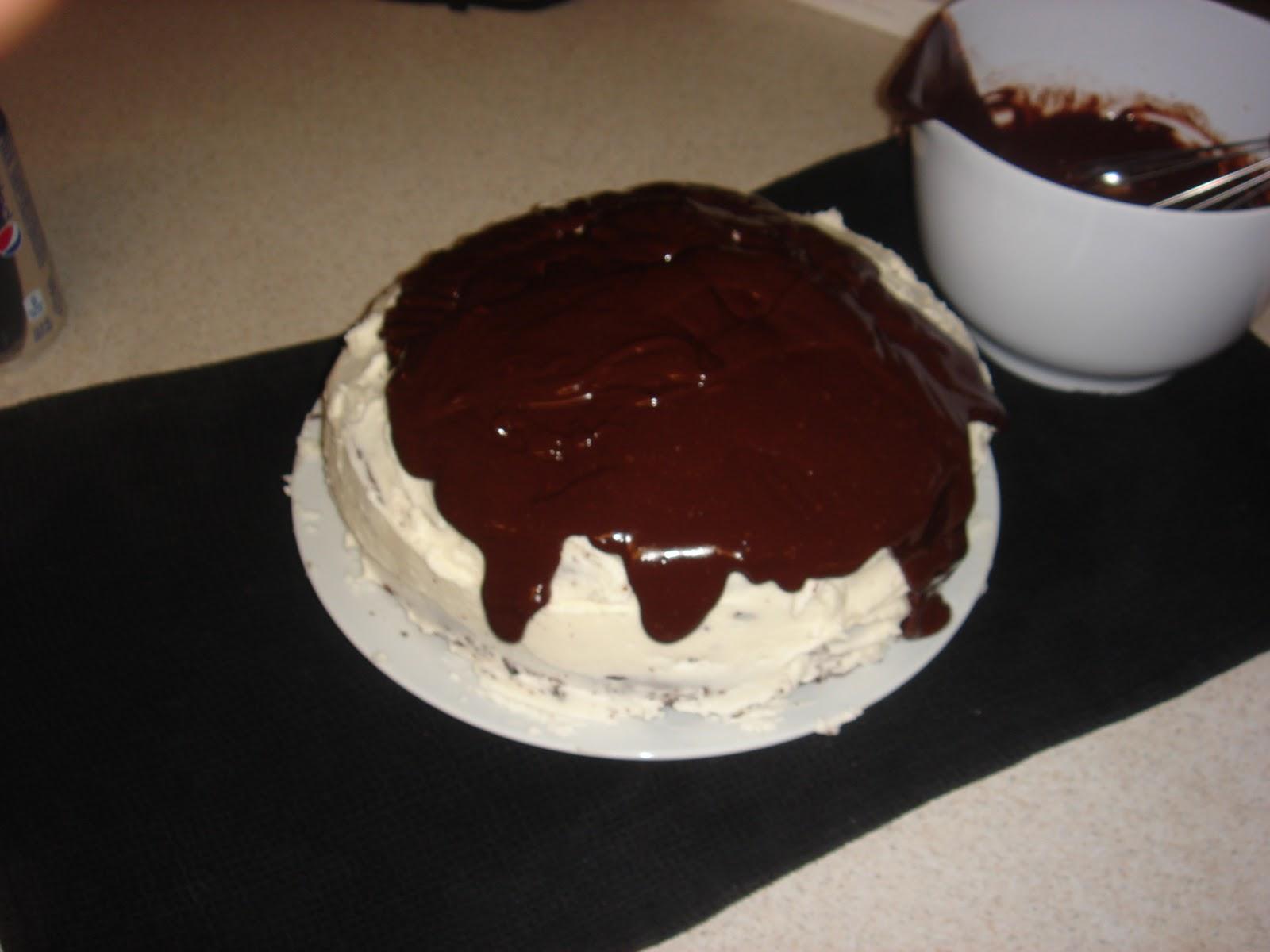 ... cake with vanilla buttercream icing and dark chocolate ganache glaze