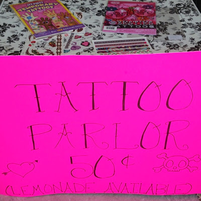 Make a kid's temporary tattoo parlor booth and lemonade stand to earn extra cash for the Summer www.thebrighterwriter.blogspot.com
