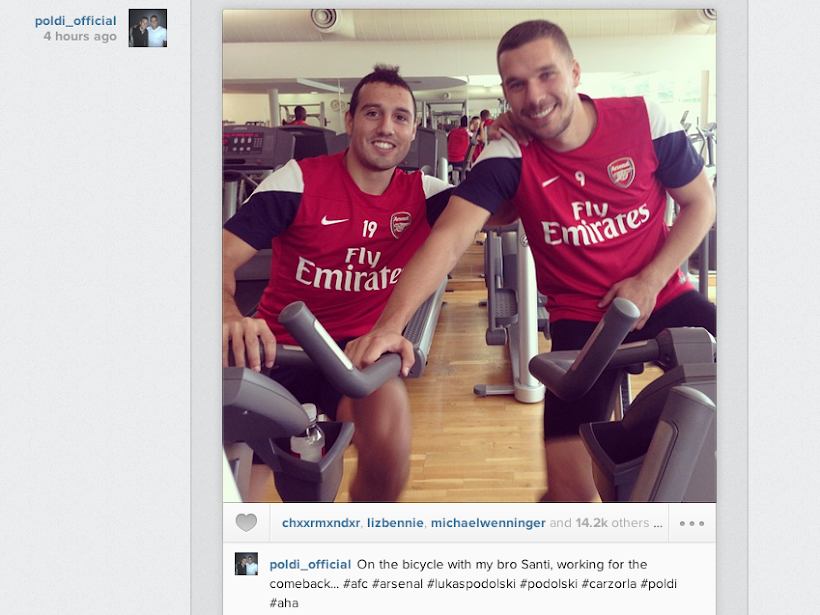 Lukas Podolski posts Instagram picture on the comeback trail with Santi Cazorla