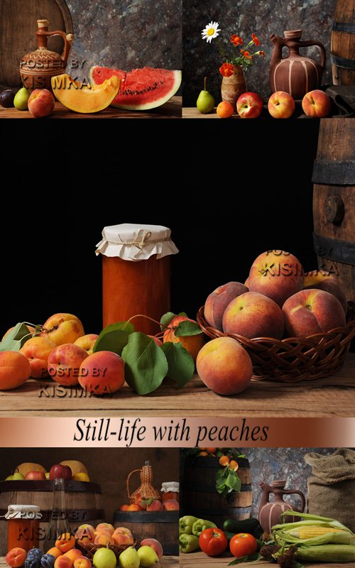 Stock Photo: Still-life with peaches
