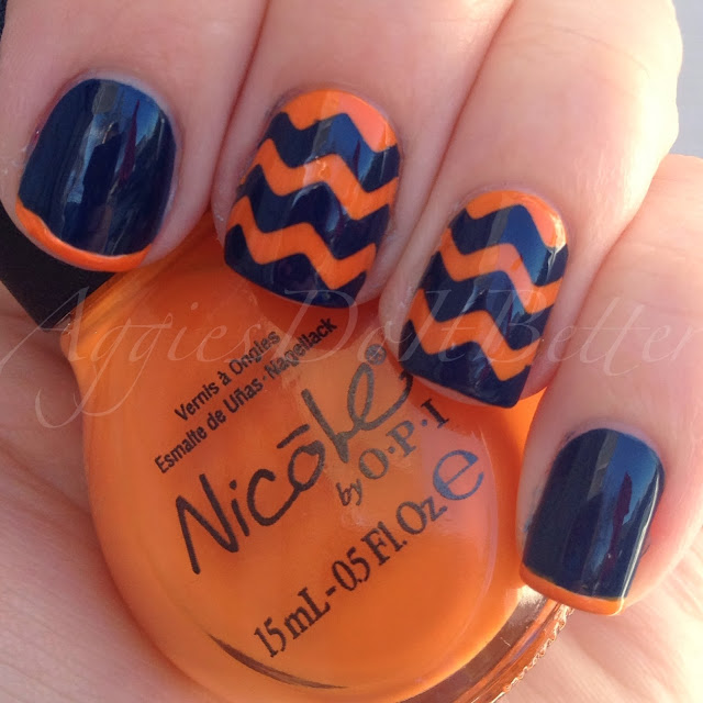 shade - Aggies Do It Better: Denver Broncos Inspired Nails (chevrons)