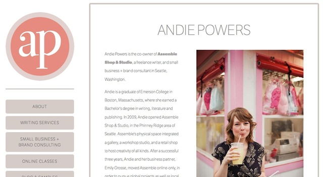 freelance business and brand consultant and writer andie powers