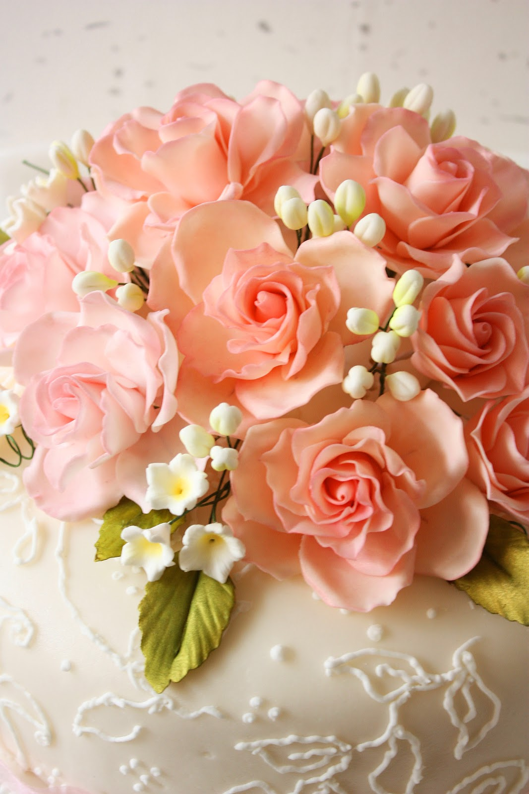 Cherry On A Cake Pink Roses Wedding Cake