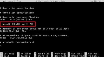 Agregar usuario normal a fichero sudoers para no usar root para tareas administrativas