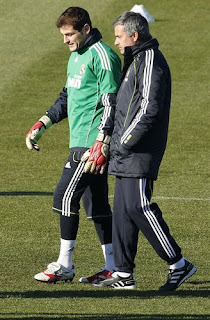 Casillas and Mourinho in Valdebebas during a training