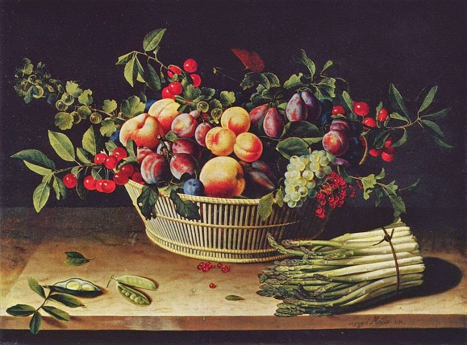 Louise Moillon - Fruit basket with asparagus, 1630