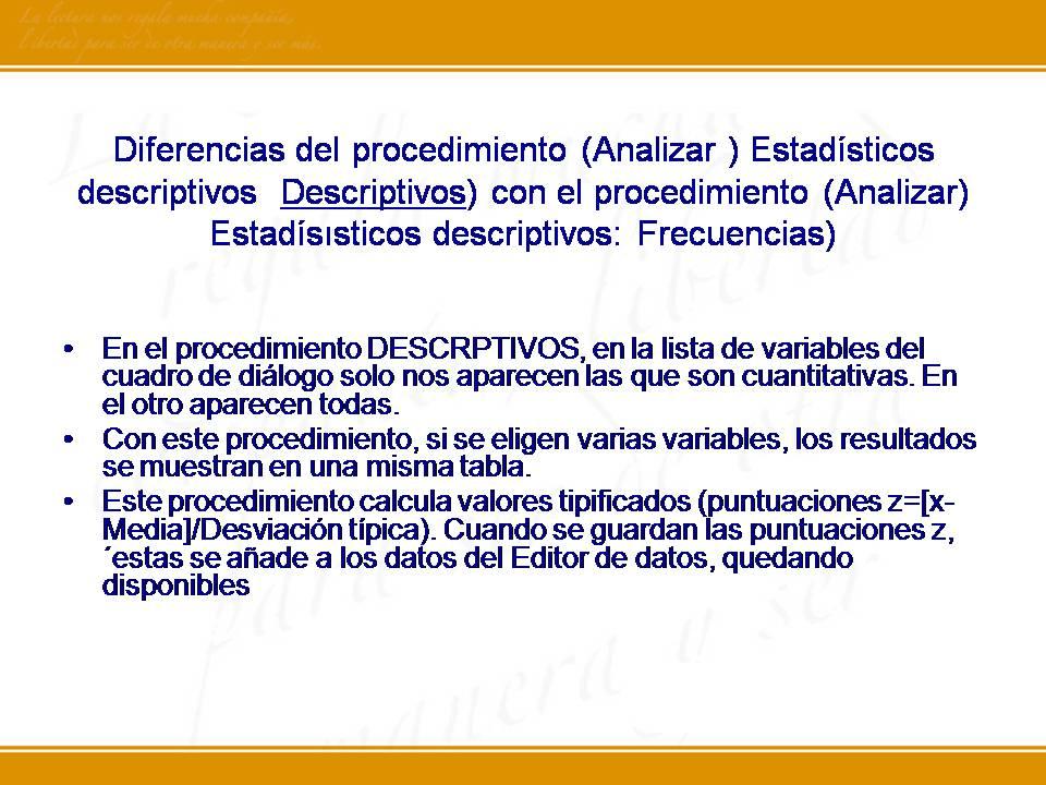 SPSS: Análisis descriptivo
