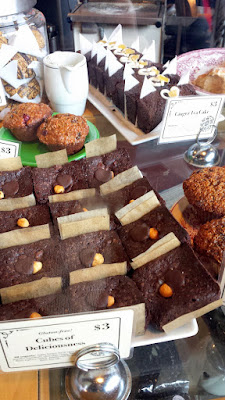 Some of the baked goods you can ogle as you approach the register of Blue Scorcher Bakery Cafe to order. Including these gluten free Cubes of Deliciousness