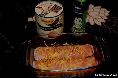 Rollitos de jamon york con puré de patatas