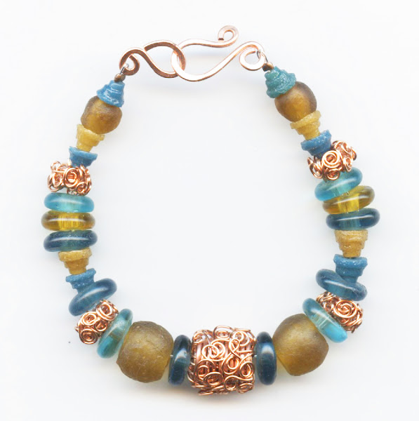 Wire Lace and Recycled Bead Necklace
