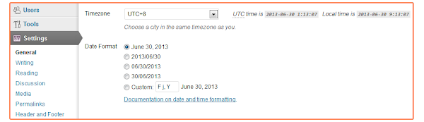 WordPress Server Date and Time