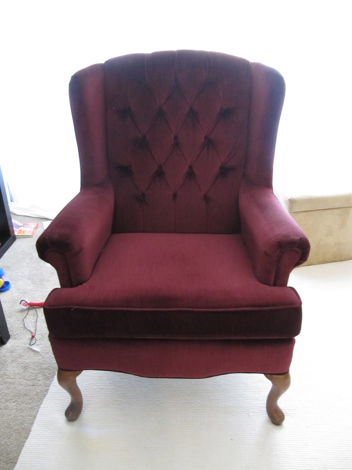 My wing chair slipcover reveal for Furniture slipcovers for wingback chairs