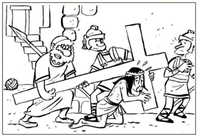 Jesús es ayudado a cargar la cruz para colorear e imprimir