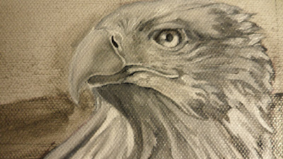 Work in Progress, Verdaccio underpainting. Source shows close up of  Resting white-tailed eagle head.
