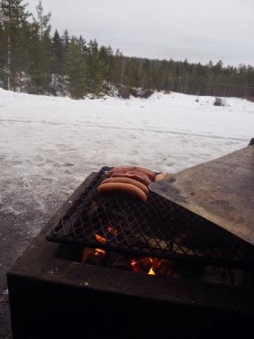 nuotio, campfire, makkara, sausage, outdoor, talvi, winter, fire,