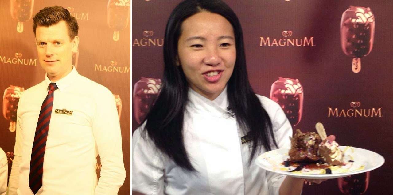 Fritz Storm, World Barista Champion and Janice Wong creates Magnum Choco-Cappuccino With Chocolate Water Mousse .
