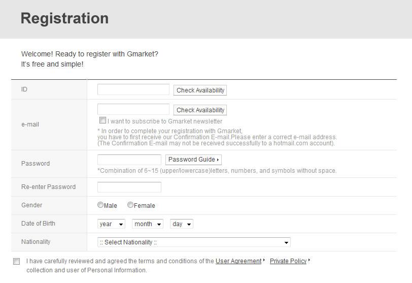 Gmarket Registration