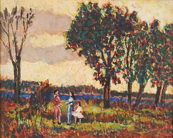 Francis Focer Brown - Figures in Landscape