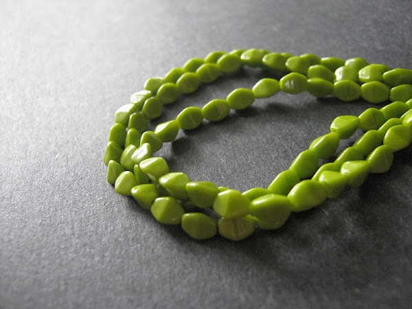 Opaque Lime Czech Glass Pinch Bicones