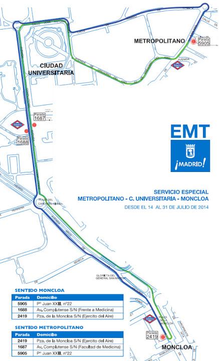 La línea especial EMT a Ciudad Universitaria prolonga su funcionamiento por obras en Metro