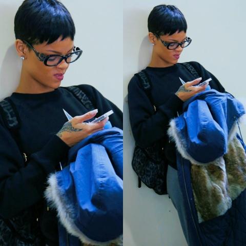 Rihanna in Trapstar London Riders 47 Sweatshirt