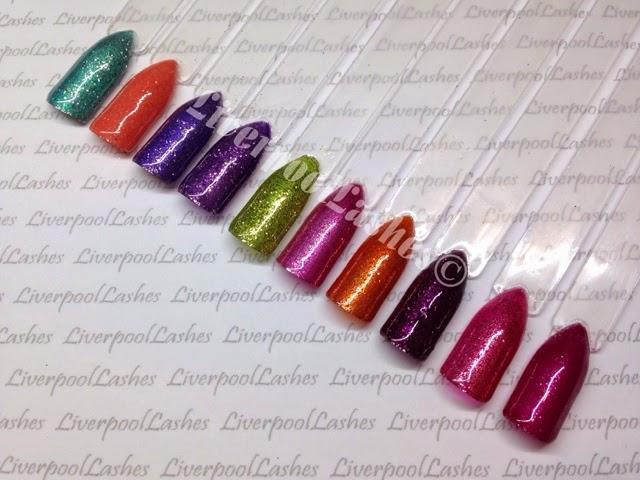 Left to right - Hotski Tchotchke, Desert Poppy, Purple Purple, Grape Gum & LimeadeSultry Sunset, Fine Vermillion, Dark Dahlia, Rose Brocade & Tinted Love