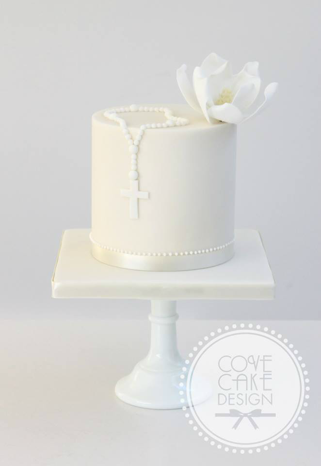 all white Communion cakes