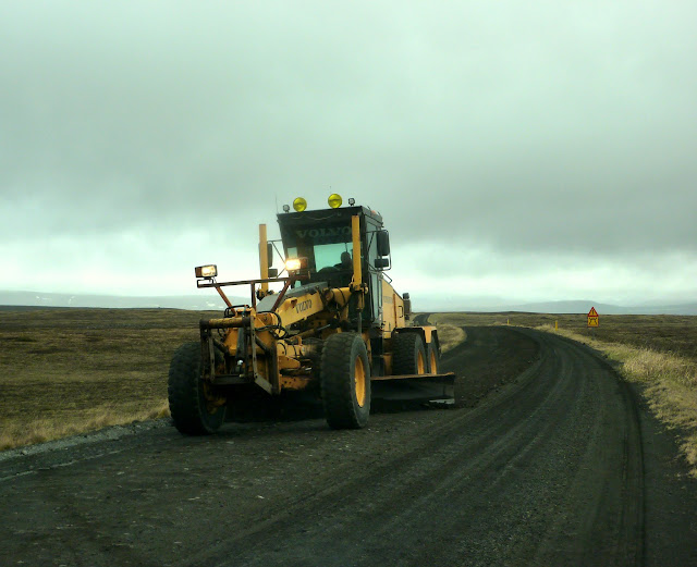 Road 864 to Dettifoss is resurfaced as we drive along it!