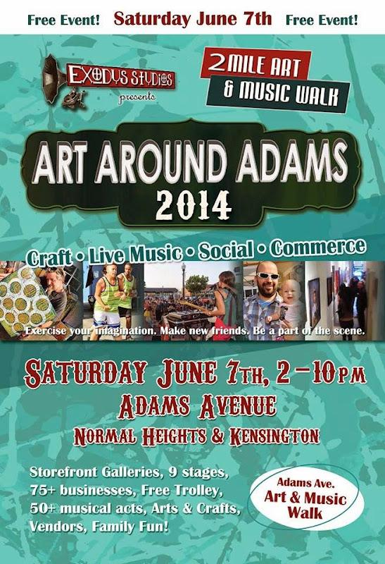 11th Annual Art Around Adams - Art Around Adams 2014: 2 Mile Music & Art Walk - June 7 Flyer
