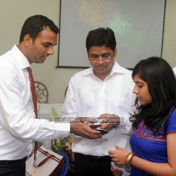 Madan Mohit Bharadwaj, Sachin Kumar and Bhavya Mittal during a bureaucrat party of IAS and IPS batch 2013, held at Constitution club, Connaught Place, New Delhi, on July 20, 2014.