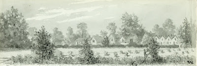 """View from Manor Farm of the Hauxton Road. The Rectory grounds, Blacksmith's corner, Marshall's corner, Austin's premises, Mansfield's cottages."" From A Record of Shelford Parva by Fanny Wale P31"
