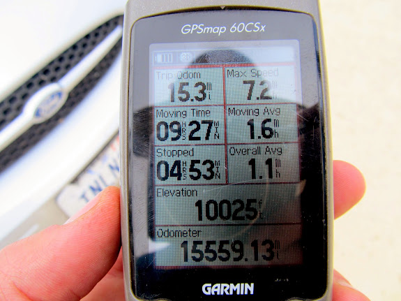 GPS stats back at the trailhead. Disappointed that I only got up to 7.2 mph on the glissade!