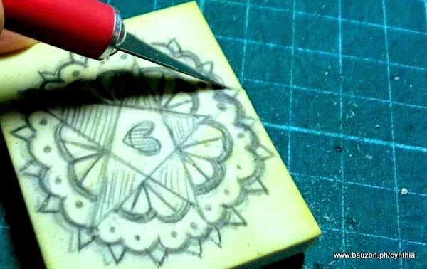 carve a rubber stamp with a craft knife