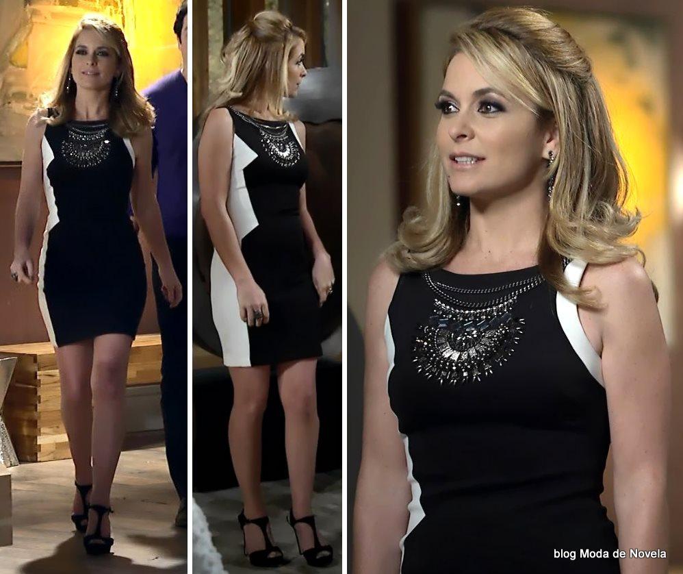 moda da novela Geração Brasil - look da Pamela com vestido P&B dia 4 de julho