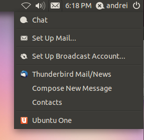 Thunderbird Messaging Menu Unity Oneiric Ocelot Ubuntu