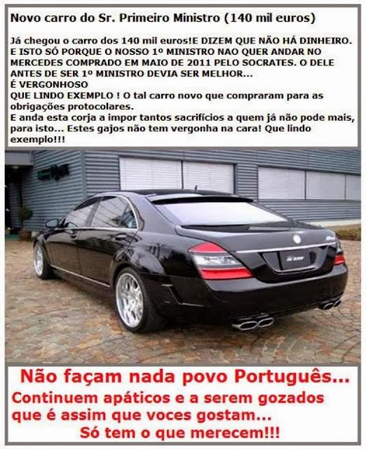 Novo carro do Primeiro-Ministro Passos Coelho custou 140 MIL EUROS!!