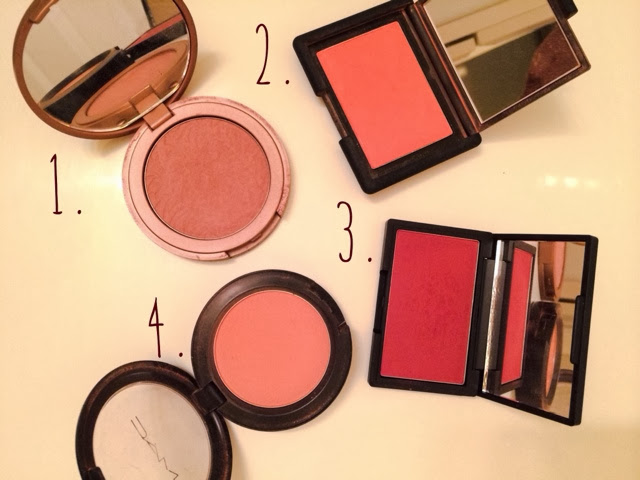 Favorite Blushes and Swatches: Tarte Exposed, Nars Gilda, Sleek Flushed, MAC Melba