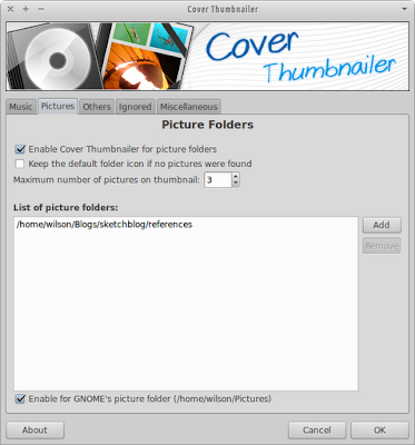 Cover thumbnailer settings