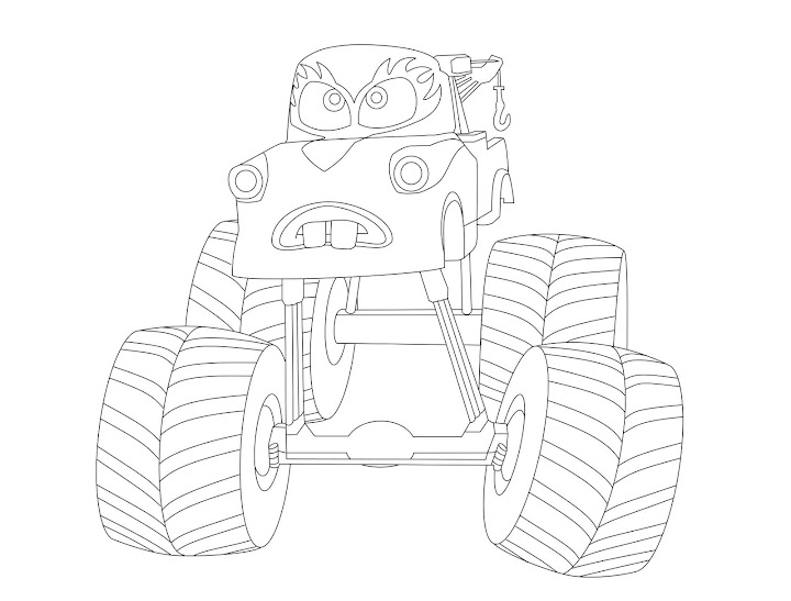 Cars: Mater Monster Truck Coloring Page