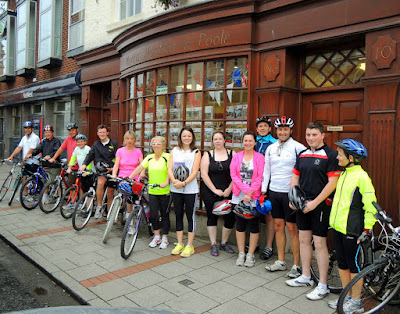 Morris Marshall and Poole Newtown staff heading off on their charity cycle ride to Llanidloes