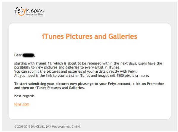 ドイツの音楽配信サービスFeiyrからアーティストへ送られたメール